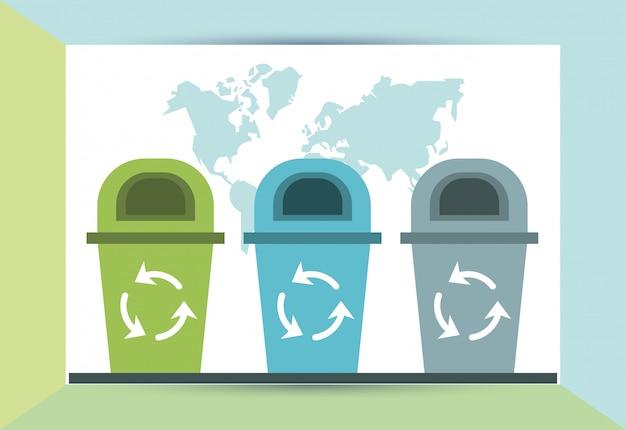 Kosze na śmieci ze strzałkami recyklingu