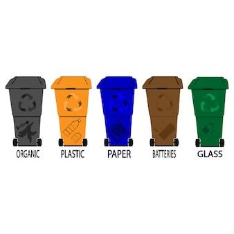 Kosze recyklingu. kosz w śmietnikach z posortowanymi ikonami wektorów śmieci. zestaw koszy na śmieci z posortowanymi śmieciami. organiczne, plastikowe, papierowe, szklane, baterie