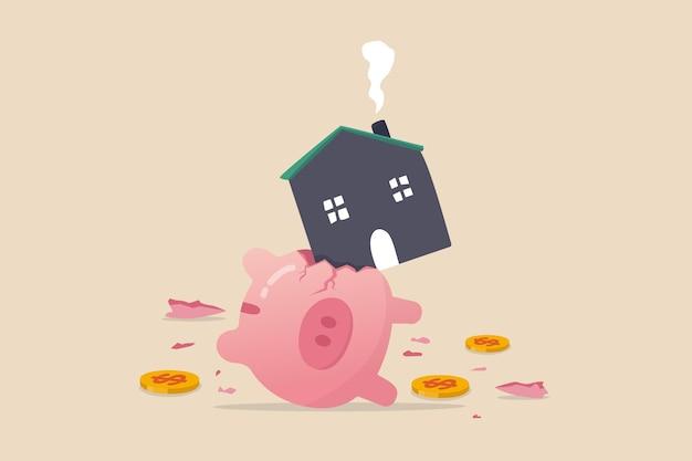 Koszt i koszt domu, zbyt droga płatność lub koncepcja hipoteki o wysokim oprocentowaniu, ciężki dom złamał oszczędności metafora skarbonki zbyt dużej płatności i kosztów.