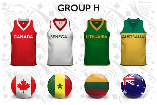 Koszule do koszykówki. zestaw koszulek i flag drużyn narodowych.