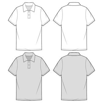 Koszule polo moda płaski szablon szkicu