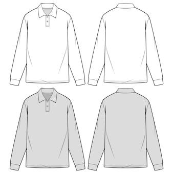 Koszule polo z długim rękawem moda płaski szablon szkicu