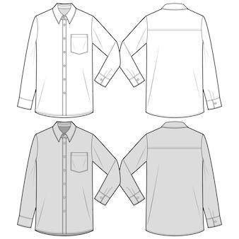 Koszule z długimi rękawami moda płaski szablon szkicu