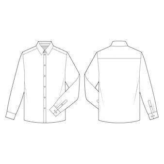 Koszule z długimi rękawami płaski szablon szkicowy