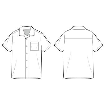 Koszule z krótkim rękawem moda płaski szablon szkicu