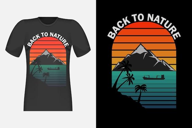 Koszulka back to nature silhouette retro vintage design