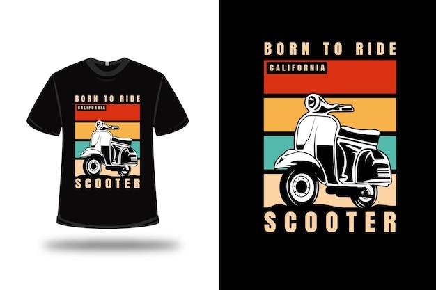 Koszulka born to ride california scooter w kolorze pomarańczowo-kremowym i zielonym