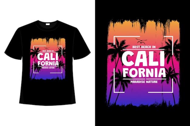 Koszulka california beach sunset paradise tree brush style retro