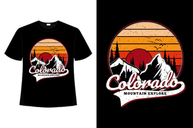 Koszulka colorado mountain pine retro explore