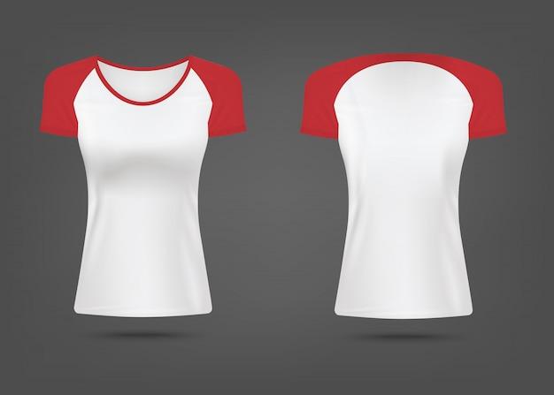 Koszulka damska z czerwonymi rękawami realistyczne ilustracja na białym tle.