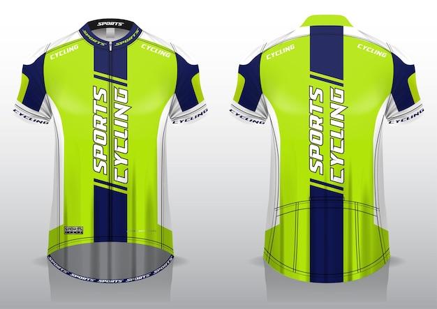 Koszulka do sportów rowerowych, jednolity krój widoków z przodu iz tyłu