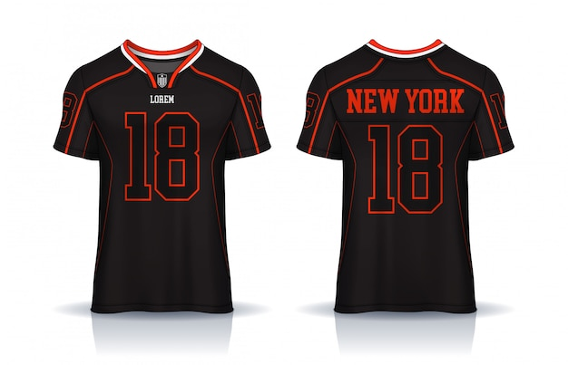 Koszulka futbolu amerykańskiego, t-shirt szablon sportowy. jednolity widok z przodu i tyłu.