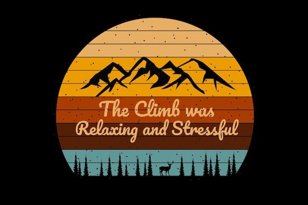 Koszulka górska sylwetka sosna w stylu retro
