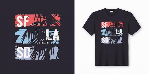 Koszulka graficzna sf la sd z sylwetką palmy.