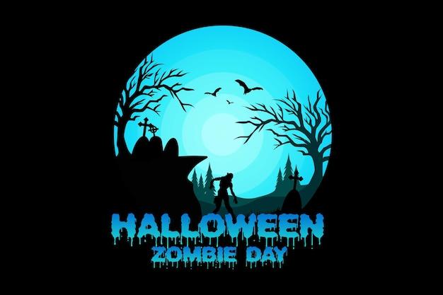 Koszulka halloween zombie dzień drzewo natura vintage ilustracja