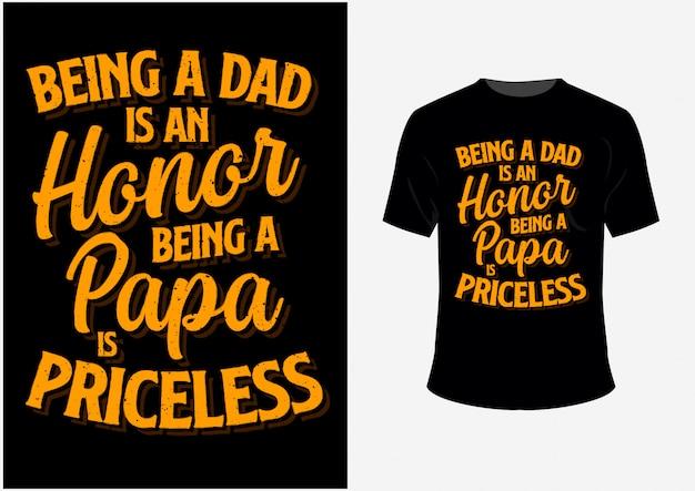 Koszulka i plakat bycie tatą to honor being a papa jest bezcenny