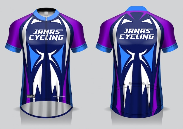 Koszulka kolarska szablon, jednolity, widok z przodu i tyłu koszulka