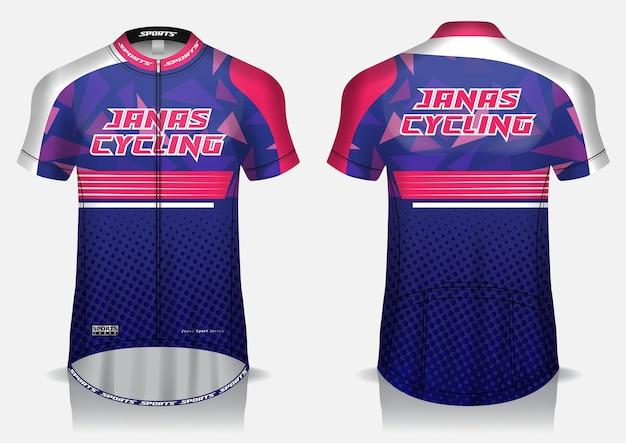 Koszulka kolarska w kolorze fioletowym, mundur, koszulka z widokiem z przodu iz tyłu