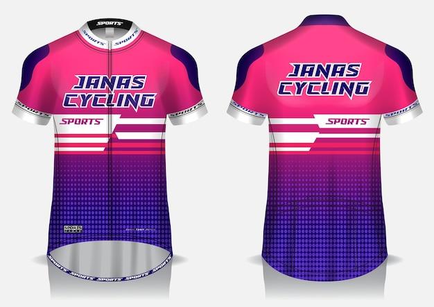 Koszulka kolarska w kolorze różowym, mundur, koszulka z widokiem z przodu iz tyłu