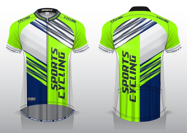 Koszulka kolarska, widok z przodu iz tyłu, sportowy design i gotowy do nadruku na tkaninie i texlicie