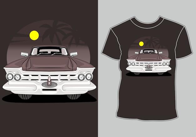 Koszulka lato, retro vintage samochód na plaży