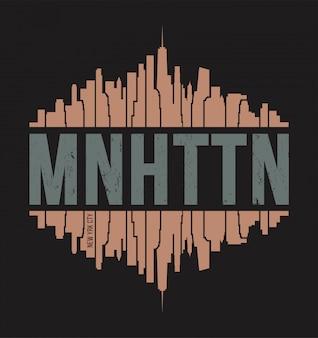 Koszulka manhattan new york. ilustracji wektorowych.
