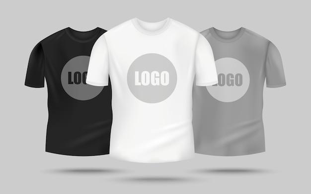 Koszulka męska w kolorze czarnym, białym i szarym z szablonem logo pośrodku, realistyczna odzież na gadżety -