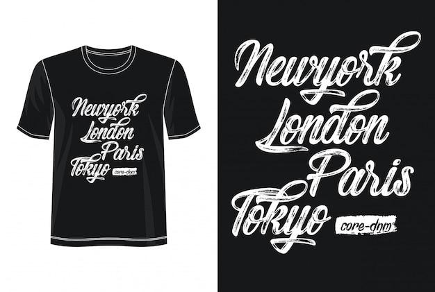 Koszulka new york londyn paryż tokio design typografia