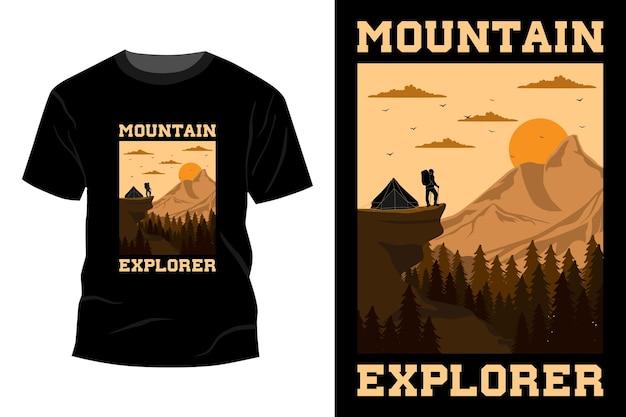 Koszulka odkrywcy gór w stylu vintage retro