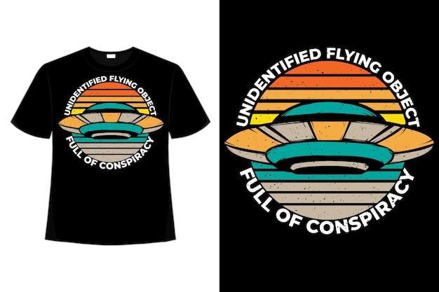 Koszulka pełna spisek latający obiekt w stylu retro vintage ręcznie rysowane ilustracji drawn