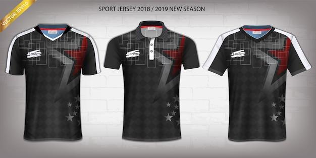 Koszulka piłkarska i t-shirt sport makieta szablon.