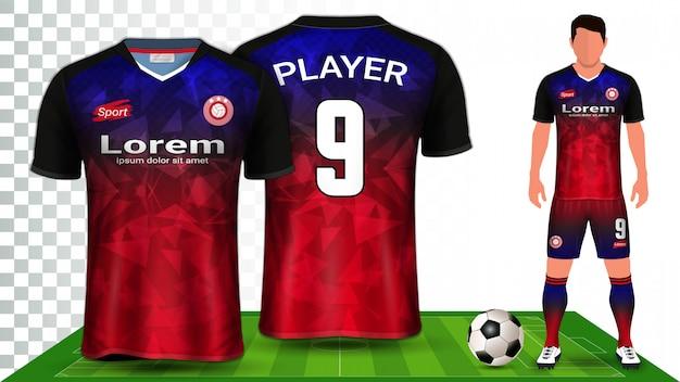 Koszulka piłkarska, koszulka sportowa lub zestaw piłkarski jednolity szablon prezentacji.