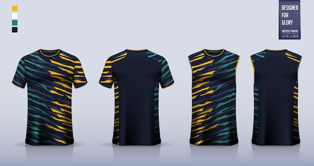 Koszulka piłkarska, strój piłkarski, strój do koszykówki lub projekt szablonu odzieży sportowej.