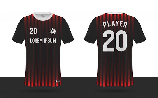 Koszulka piłkarska, szablon koszulki sportowej przód i tył koszulki drużyny sportowej.