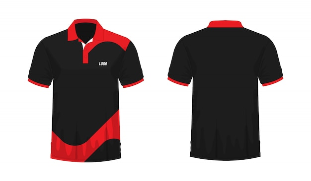 Koszulka polo czerwony i czarny szablon dla projektu na białym tle.