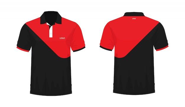 Koszulka polo czerwony i czarny szablon do projektowania na białym tle. wektorowa ilustracja eps 10.