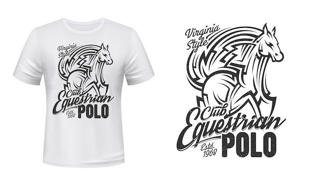 Koszulka polo jeździecka z nadrukiem, koń