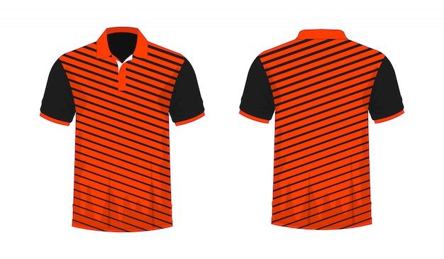 Koszulka polo pomarańczowy i czarny szablon dla projektu na białym tle.