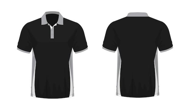 Koszulka polo szaro-czarny szablon