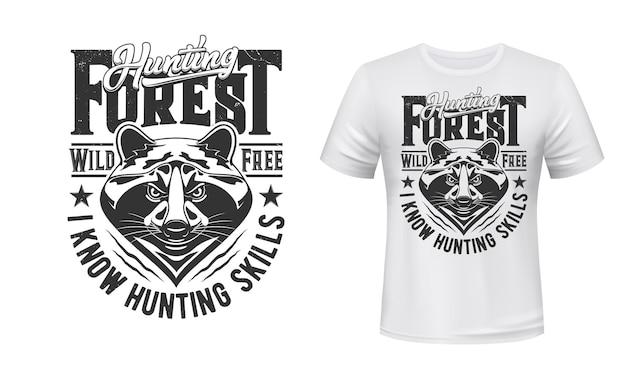 Koszulka polowania na szopy z nadrukiem z emblematem klubu myśliwskiego, głowa dzikiego zwierzęcia.
