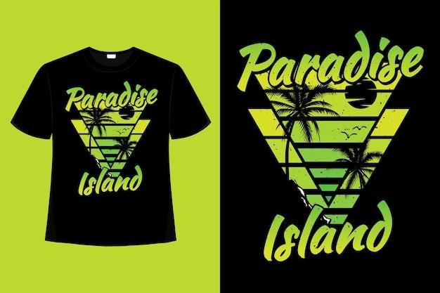 Koszulka rajska wyspa plaża palma retro ilustracja