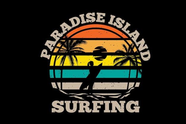 Koszulka rajska wyspa surfing palma retro vintage ilustracja