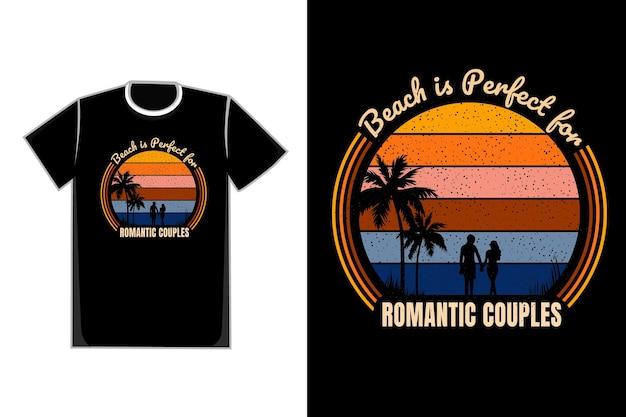 Koszulka romantyczna walentynkowa para na plaży tytułowej jest idealna dla romantycznych par