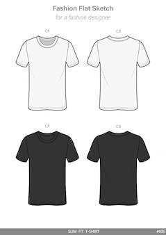 Koszulka slim fit t-shirt fashion flat technical drawing