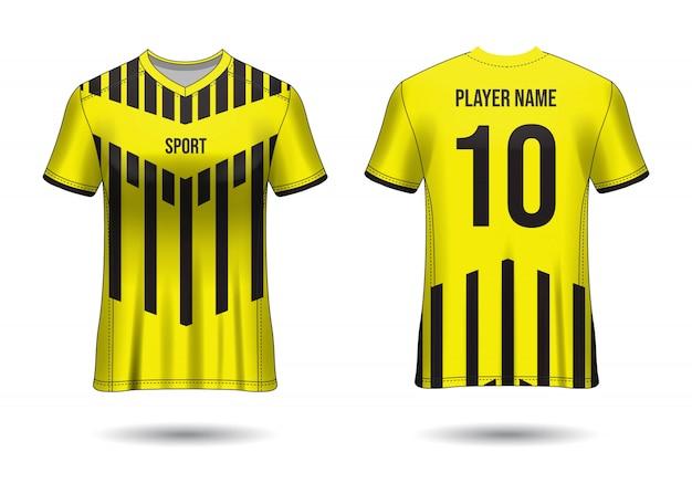 Koszulka sport design. makieta koszulki piłkarskiej dla klubu piłkarskiego. jednolity widok z przodu iz tyłu. projekt szablonu. szablon koszulki realistyczny