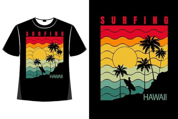 Koszulka surfing hawaje plaża w stylu retro