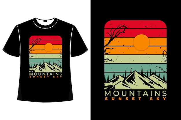 Koszulka sylwetka sosna górska retro zachód słońca