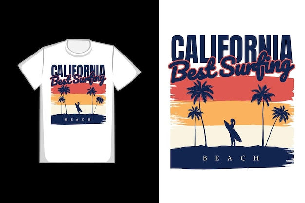 Koszulka sylwetka surfing na plaży kalifornii lato w stylu retro vintage