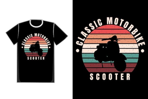 Koszulka t-shirt sylwetka skuter w stylu retro vintage