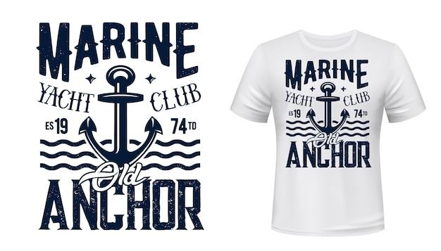 Koszulka yachting club z nadrukiem z kotwicą.